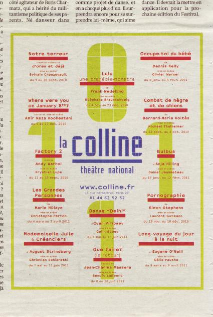 La Colline théâtre national 10/11 - Annonce